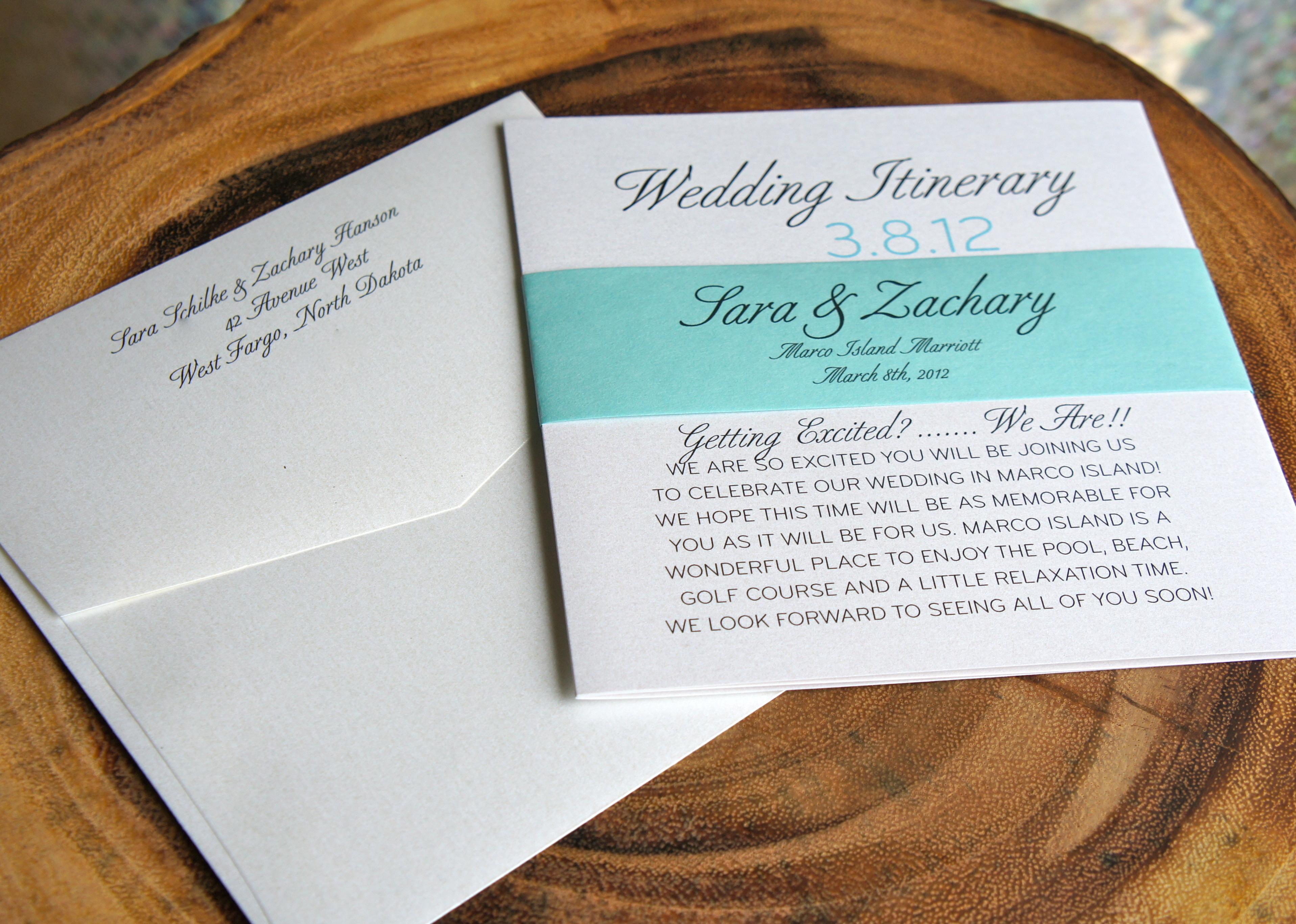 Wedding Itinerary   Luster Designs